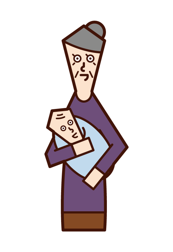 Illustration of an old woman holding a baby