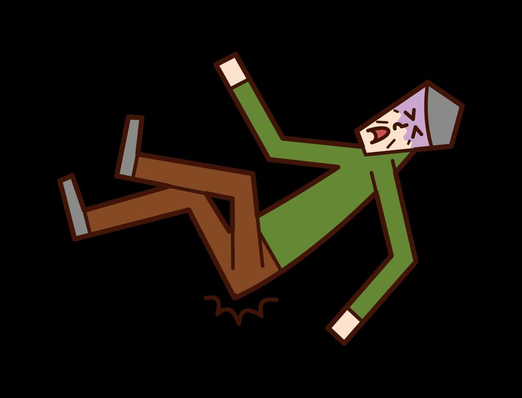 転倒して尻餅をつくおじいさん(男性)のイラスト