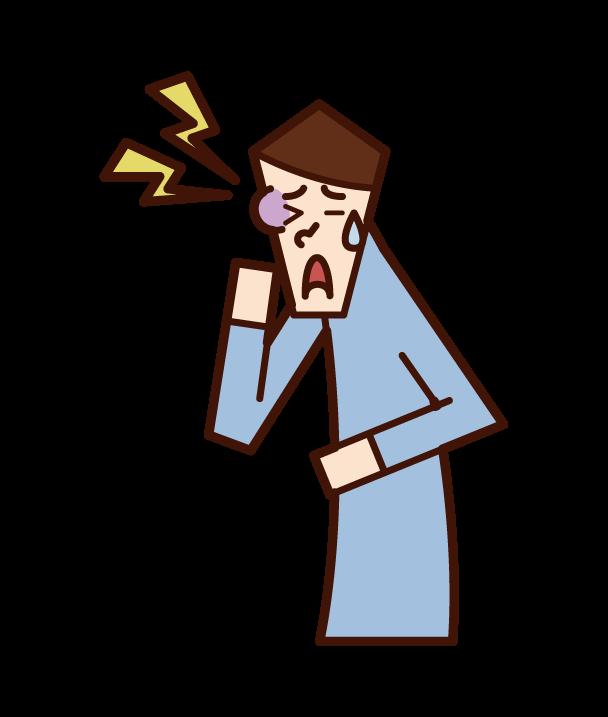 顔面打撲・顔の怪我(男性)のイラスト