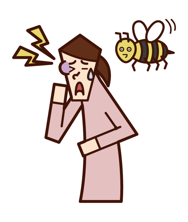 Illustration of a person (woman) stung by a bee