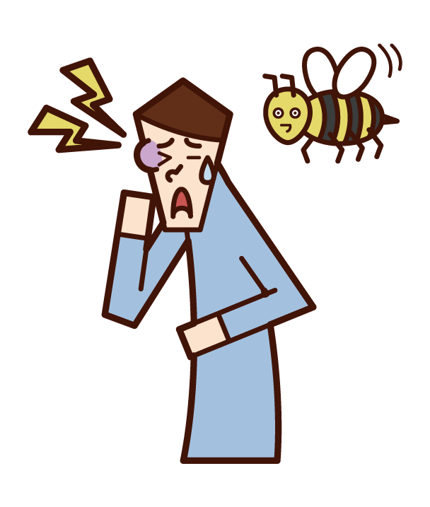 Illustration of a man stung by a bee