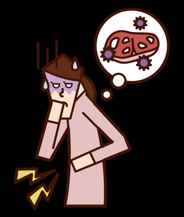Illustration of Food Poisoning O-157 (woman)