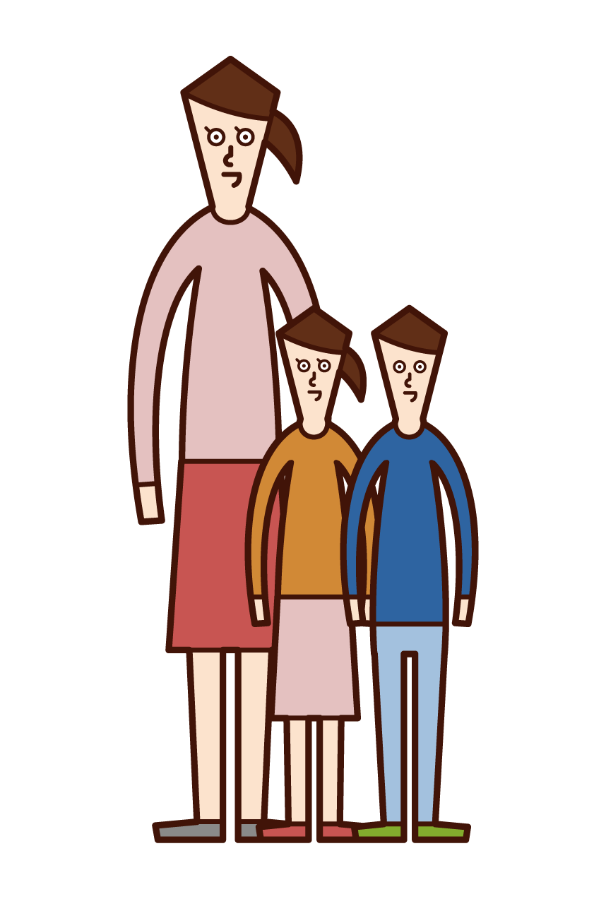 シングルマザー・片親(女性)のイラスト