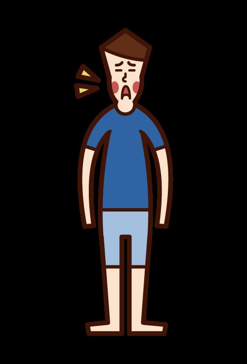 Illustration of apple disease (man)