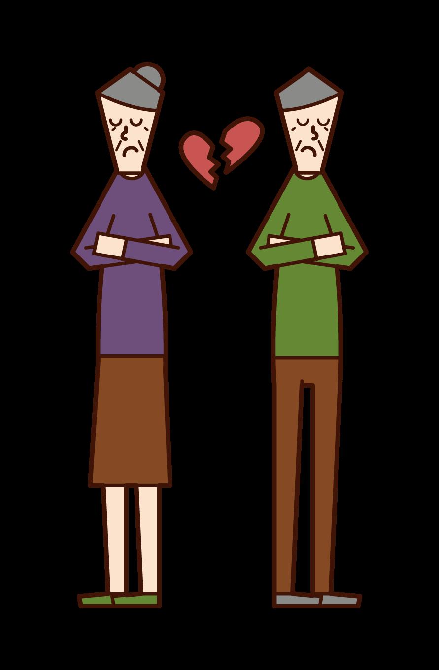 熟年離婚のイラスト