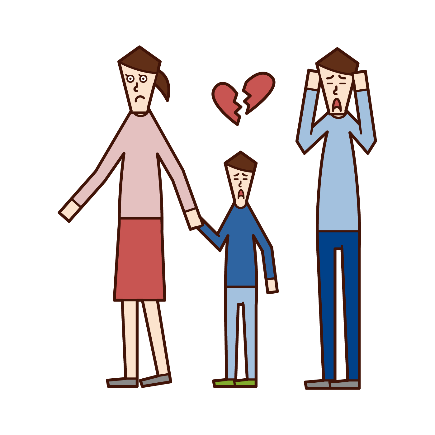 Illustration of a woman who has custody and family life at the time of divorce