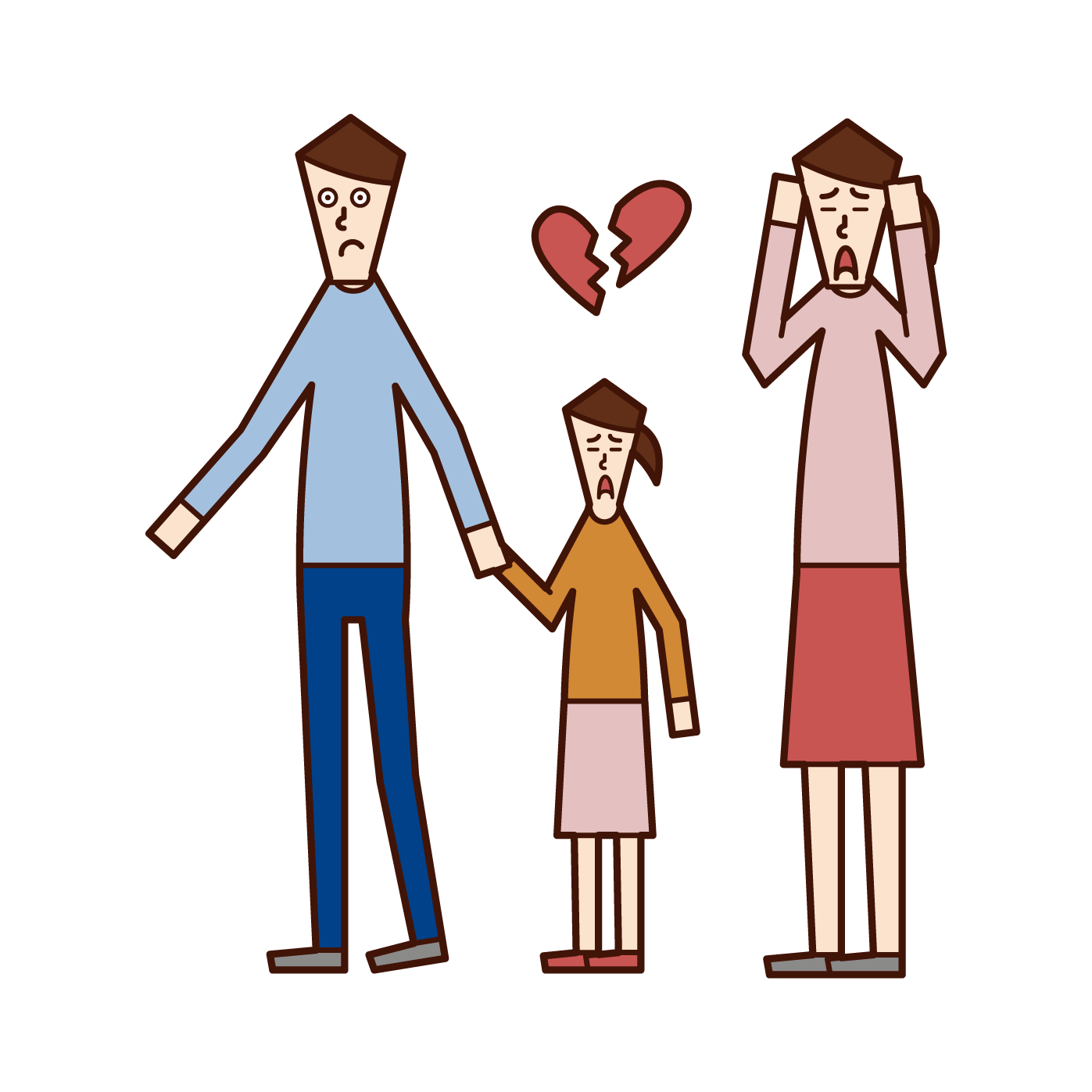Illustration of a person (man) who has custody and family life at the time of divorce