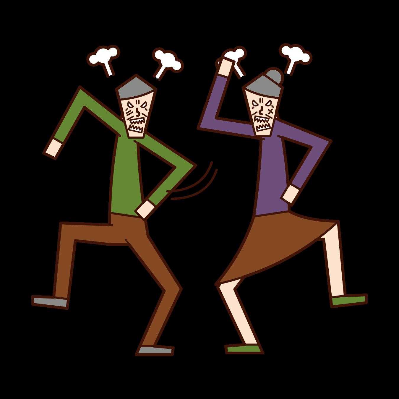 夫婦喧嘩・怒鳴り合い(老夫婦)のイラスト
