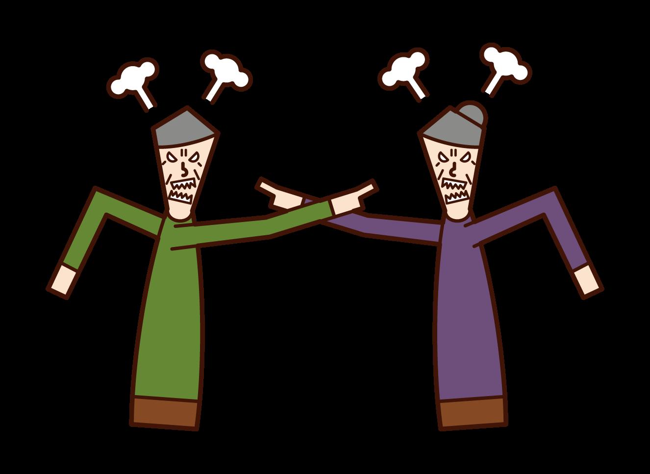 부부 싸움과 고함 (노부부)의 그림