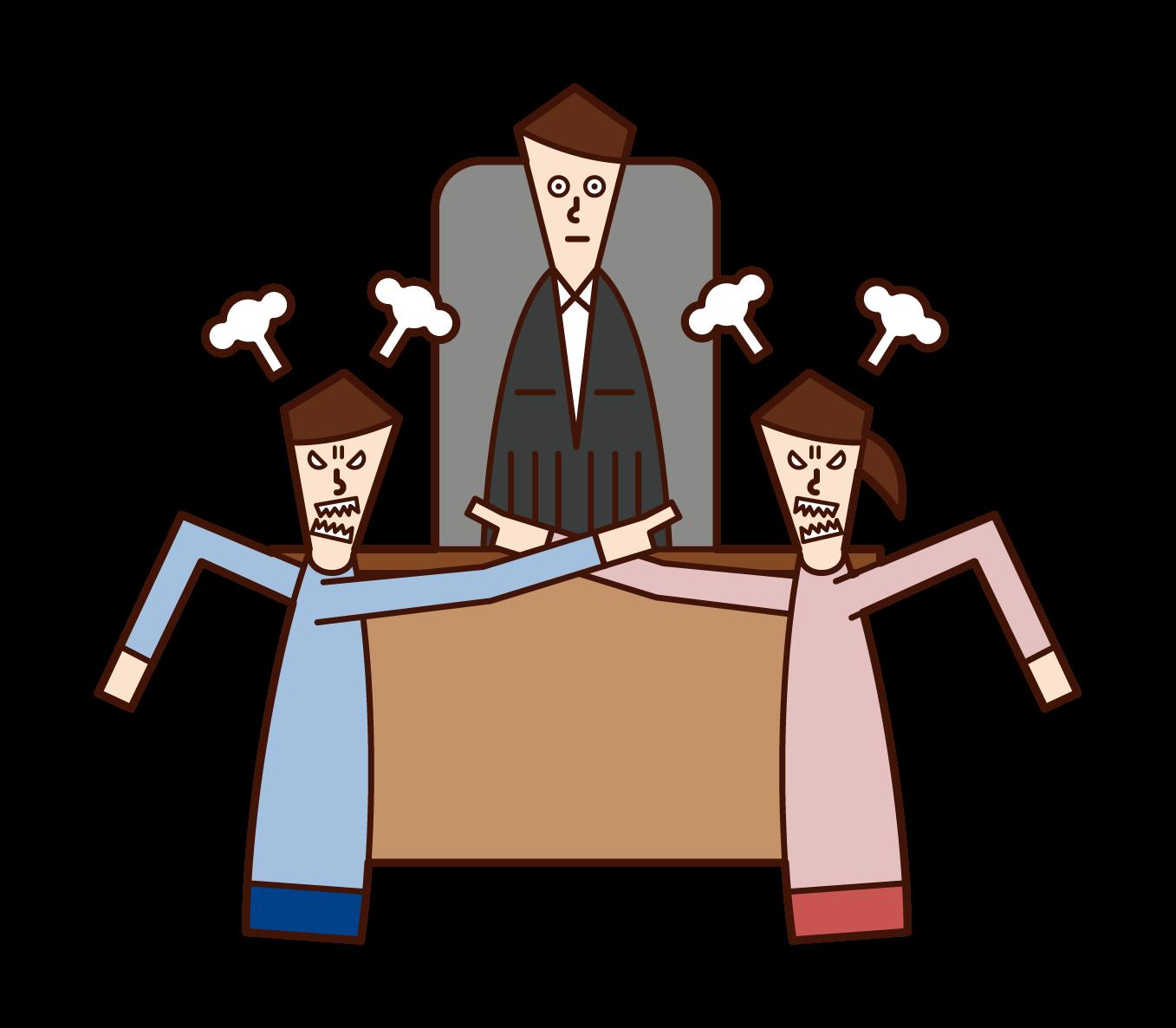 Illustration of divorce mediation and trial