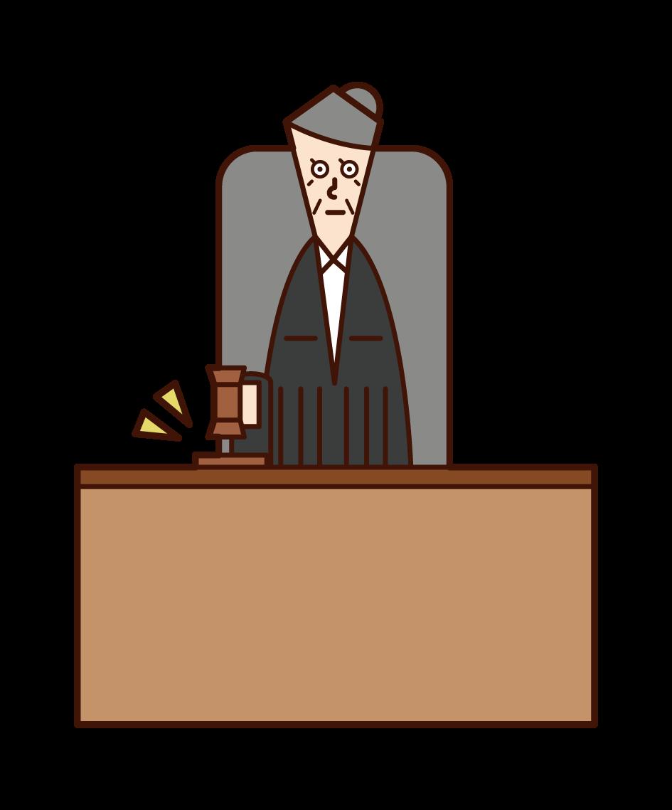 판사 (여성)의 그림, 판결을 설명합니다