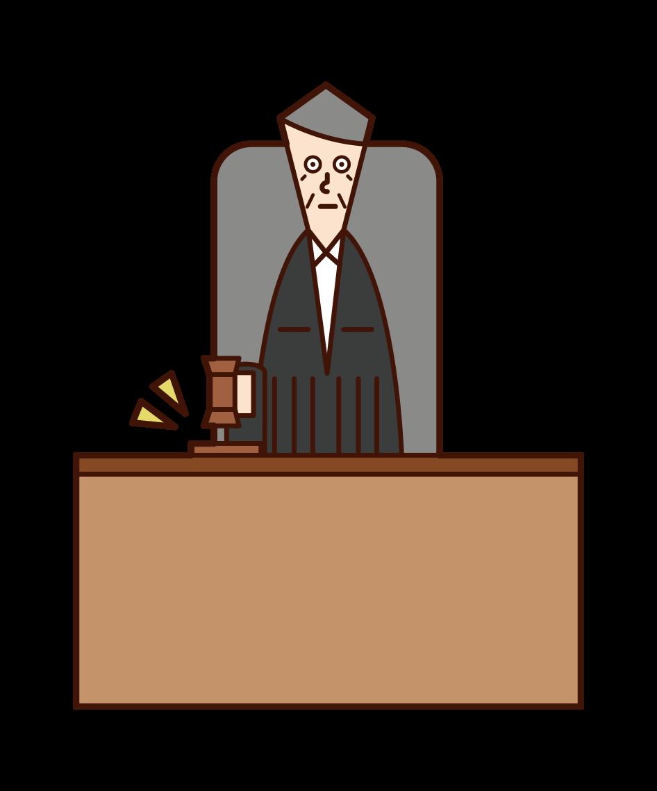 판사 (남성)의 그림, 판결을 설명합니다