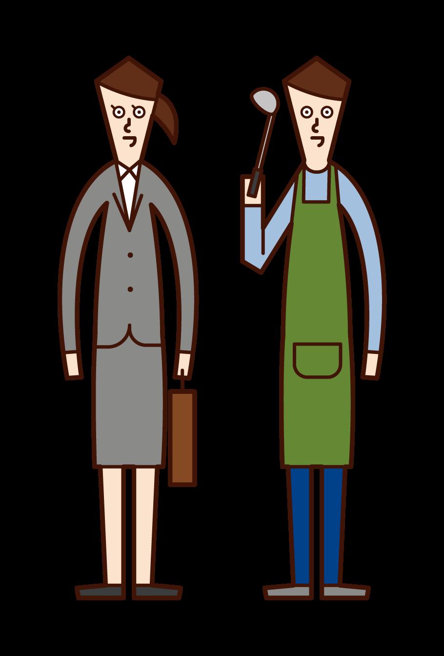전임 남편 (남성) 및 회사 직원 (여성)의 아내의 그림