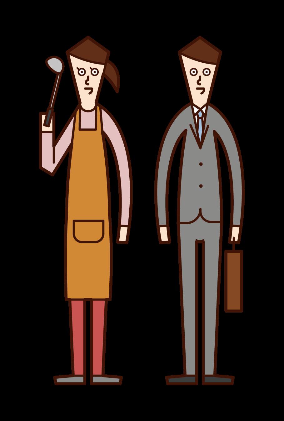 전업주부(여성)와 회사 직원(남성)의 아내 일러스트