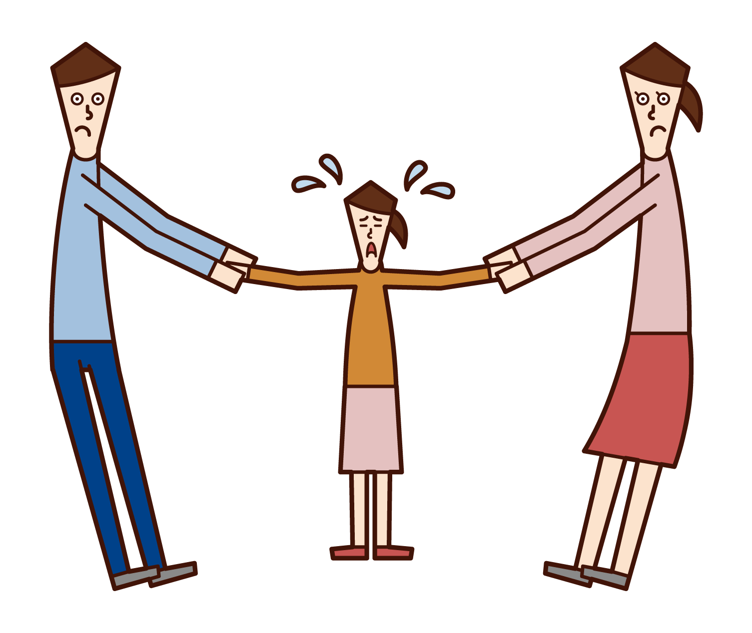 부모가 양육권과 자녀의 부모 일러스트레이션을 위해 경쟁합니다