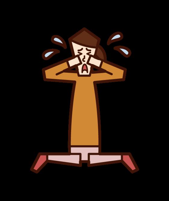 Illustration of crying child (girl)