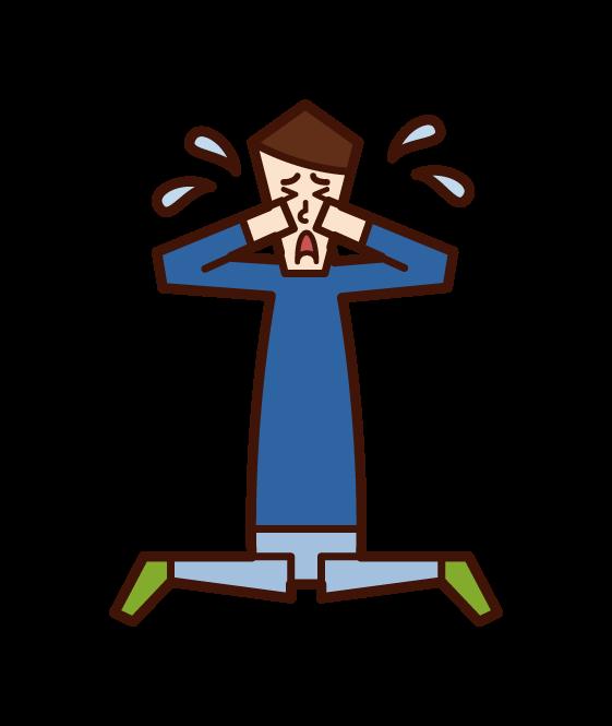 泣く子供(男子)のイラスト