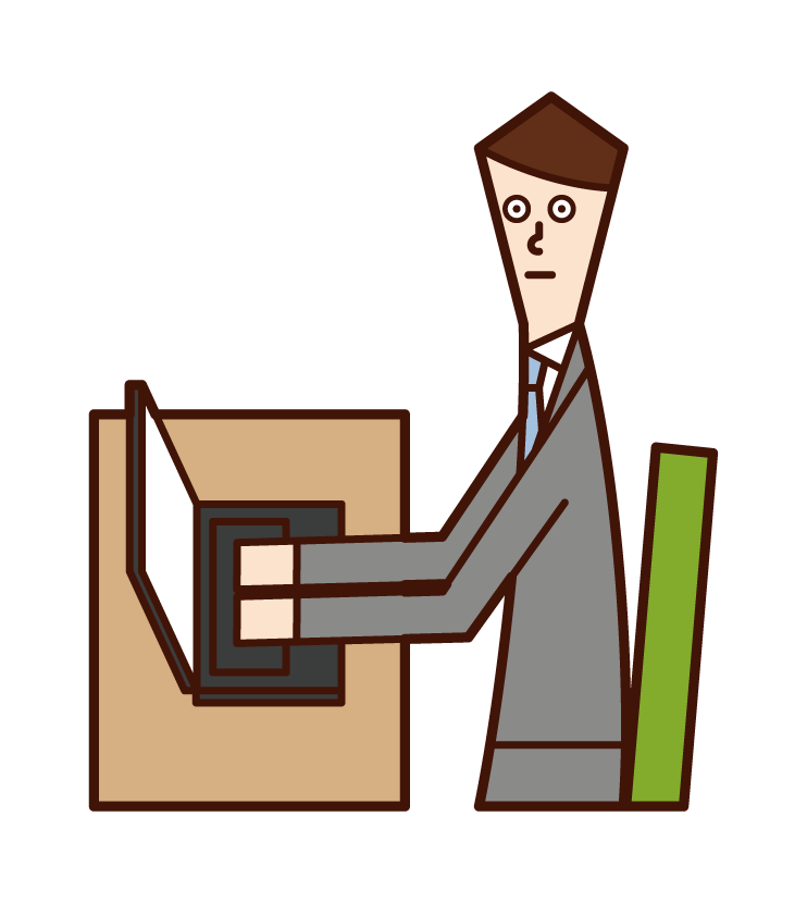 Illustration of working person and desk work (man)