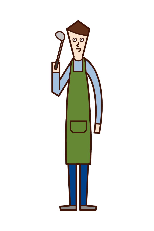 専業主夫・料理をする人(男性)のイラスト