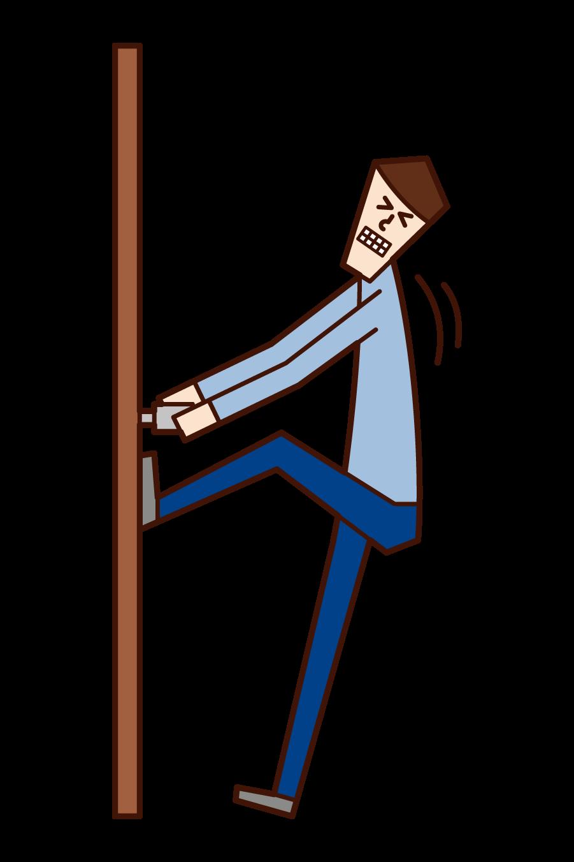 문을 열지 않은 사람 (남성)의 그림을 열려고합니다