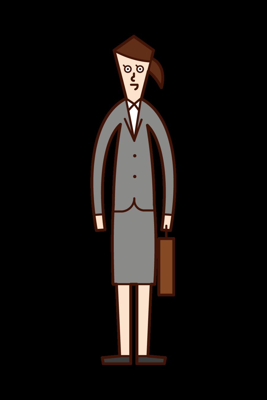 여성 및 회사 직원의 일러스트레이션