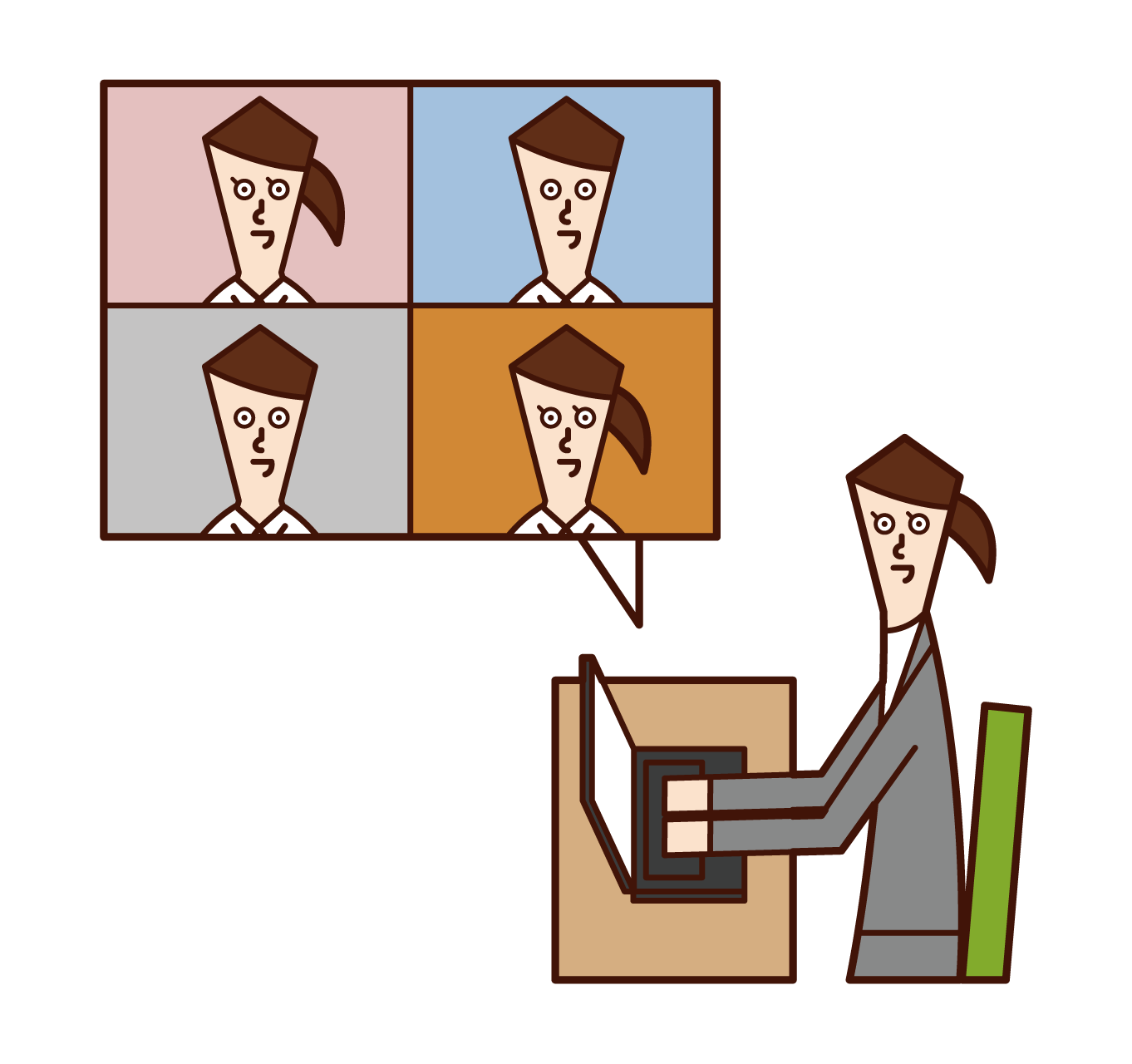 Illustration of telework, online conference, video conference (woman)