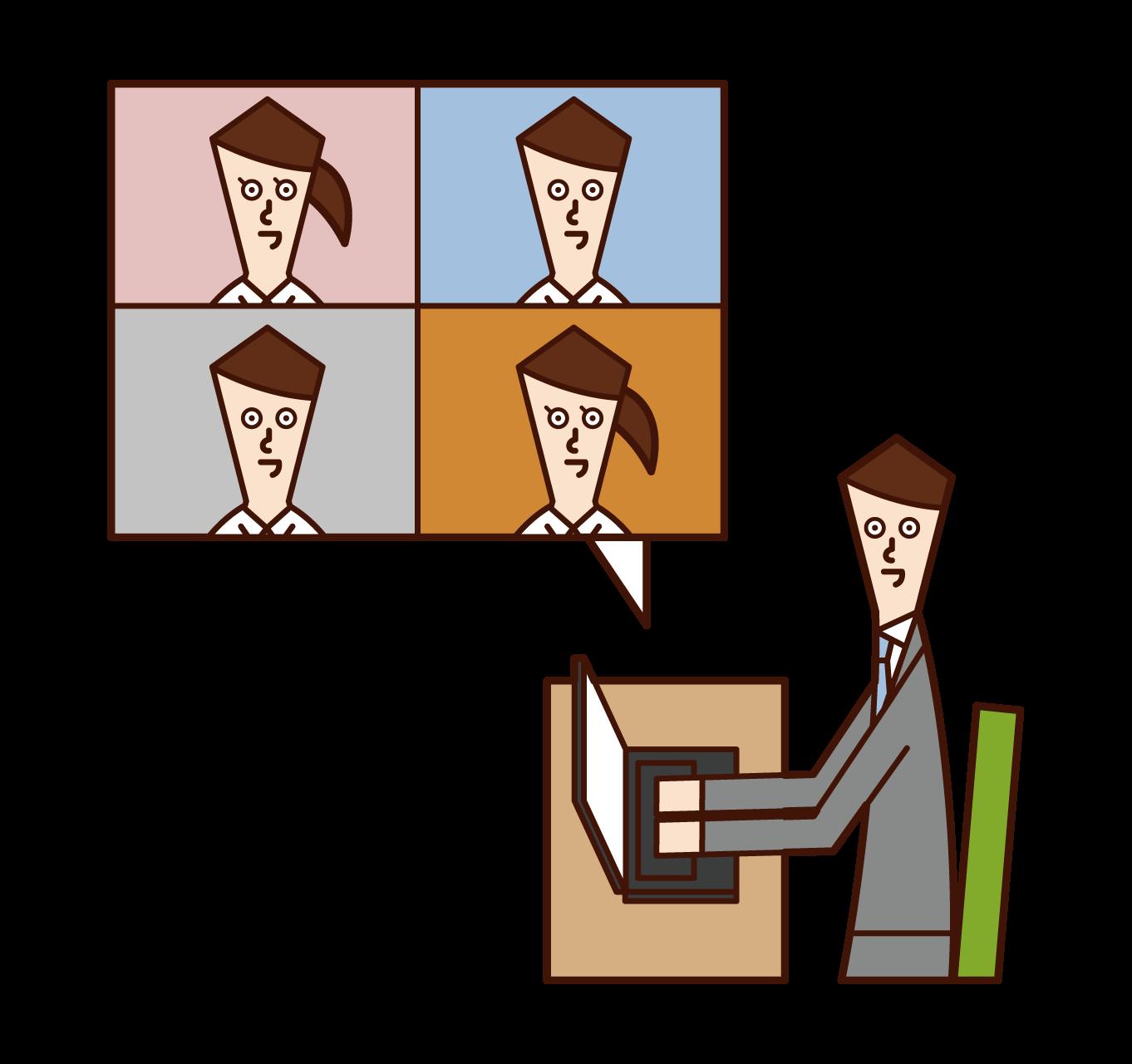 재택 근무, 온라인 회의 및 화상 회의(남성) 일러스트레이션