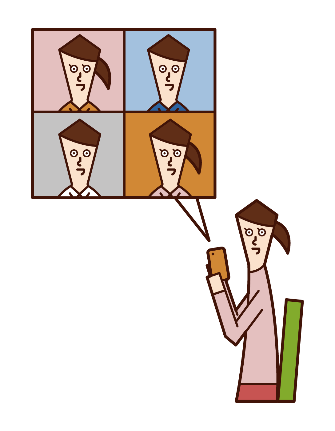 Illustration of video call (woman)