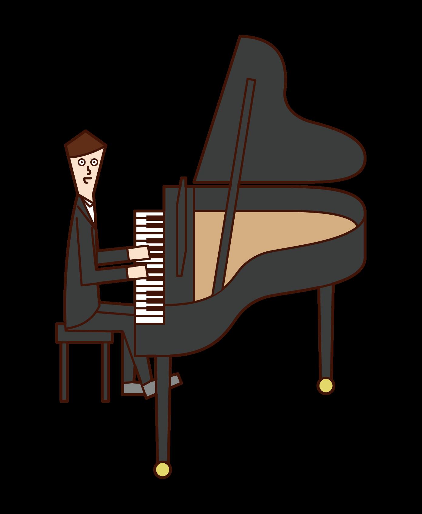 피아니스트의 일러스트 (남성)