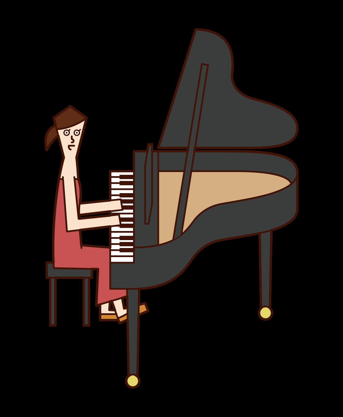 피아니스트의 일러스트(여성)