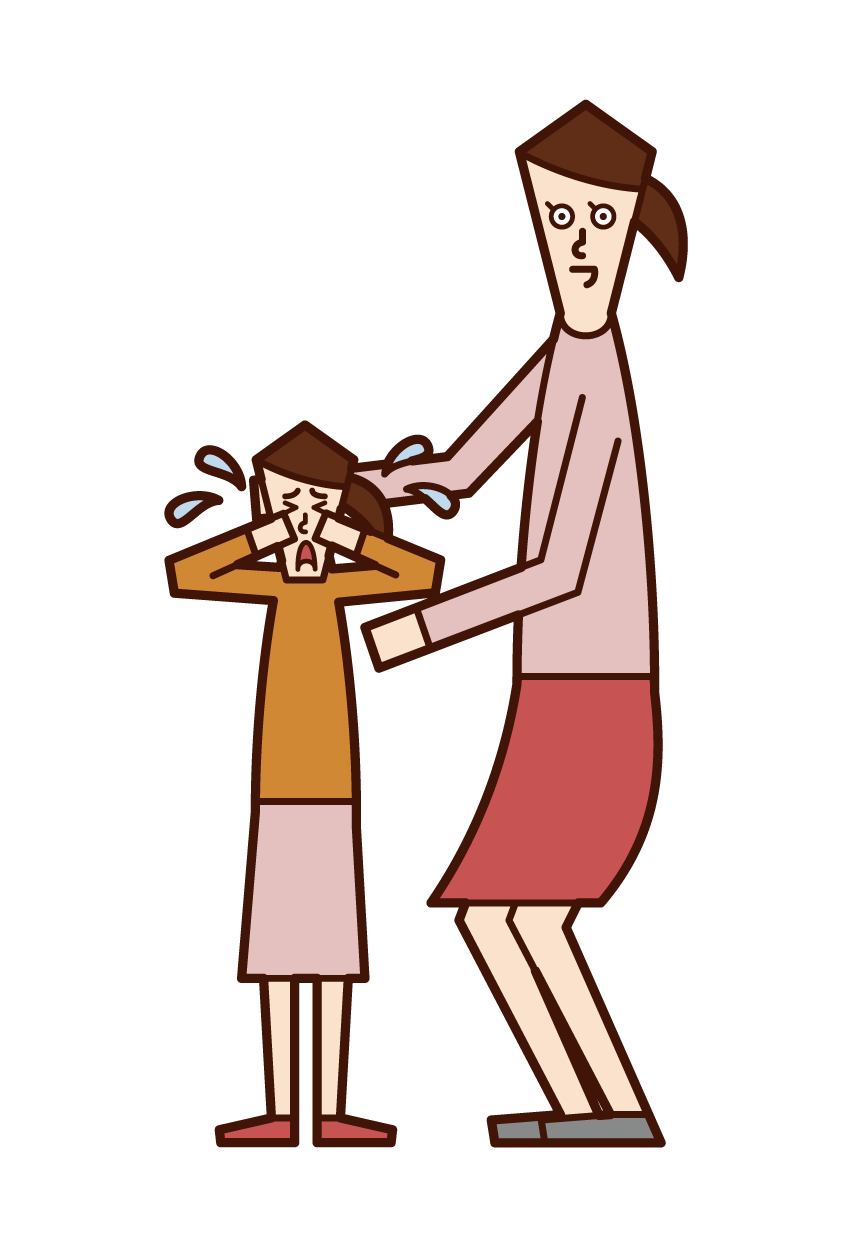 子供をなぐさめる人(女性)のイラスト