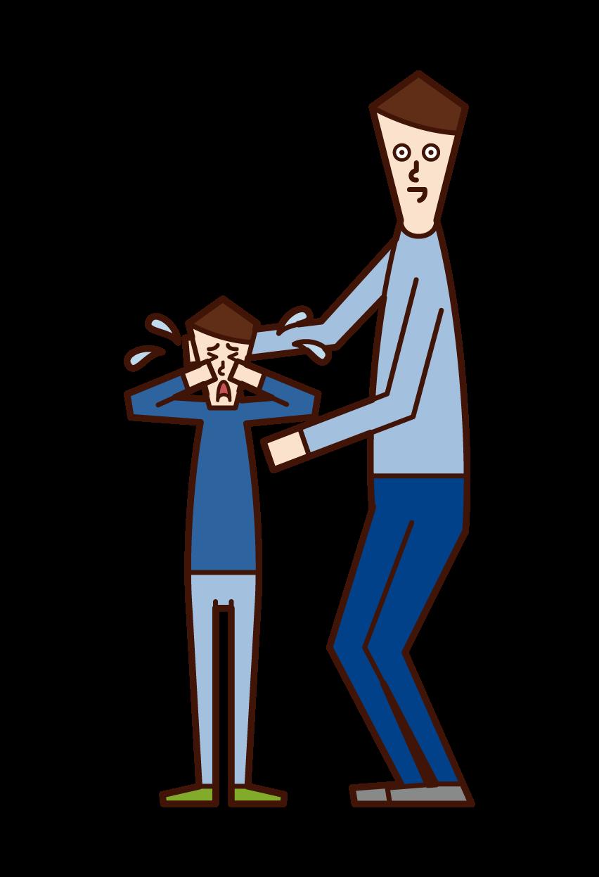子供をなぐさめる人(男性)のイラスト