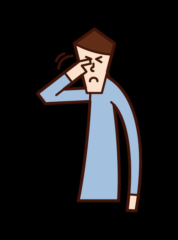 백내장, 녹내장 및 당뇨병 성 망막증 (남성) 일러스트