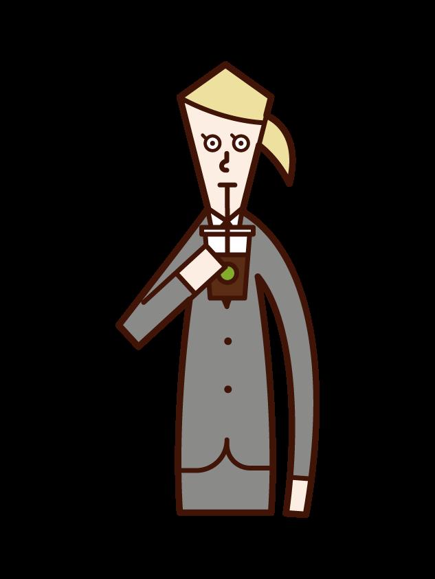 コーヒー・ジュースを飲む人(女性)のイラスト
