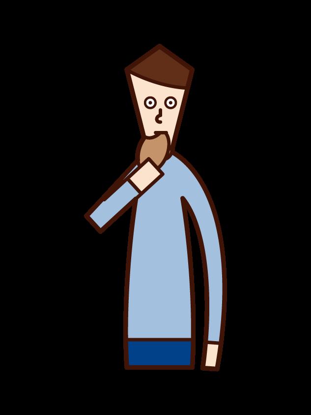 パンを食べる人(男性)のイラスト