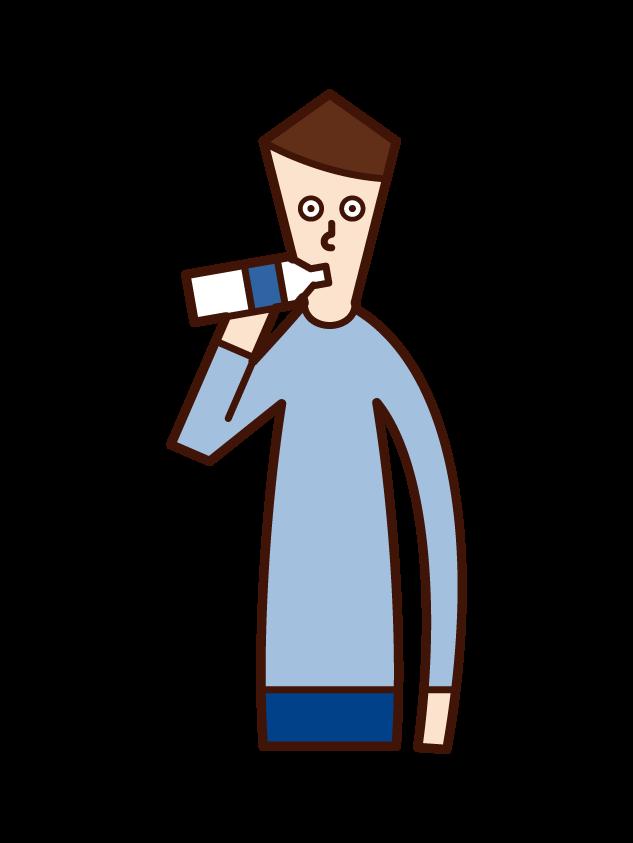 飲み物を飲む人(男性)のイラスト