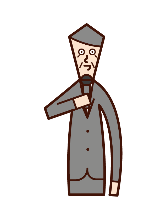 Illustration of a person (old man) who speaks with a microphone