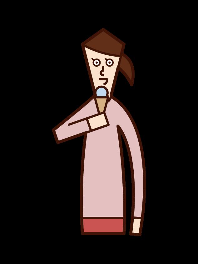 アイスクリームを食べる人(女性)のイラスト