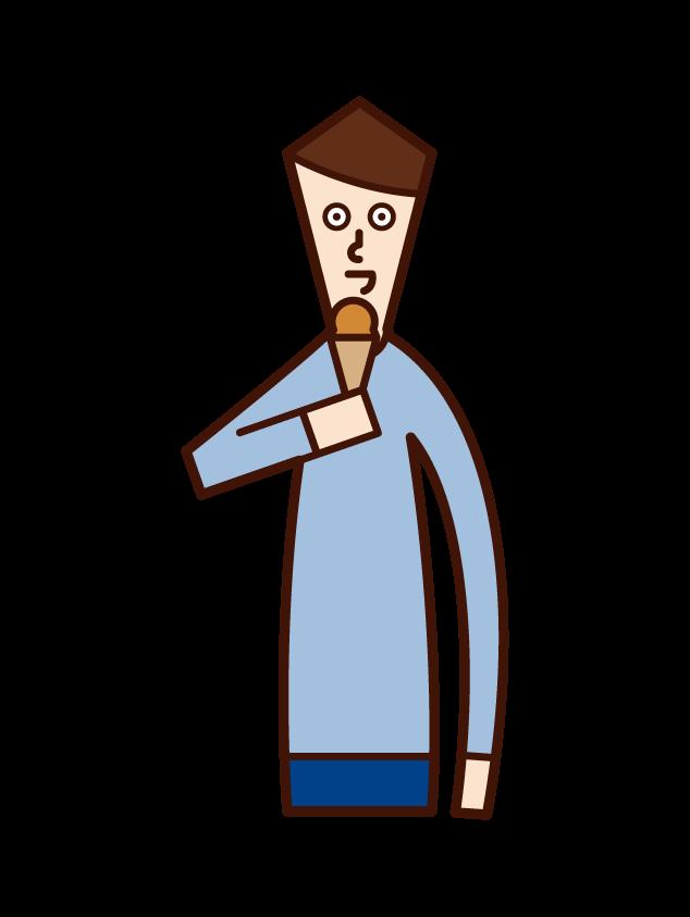 アイスクリームを食べる人(男性)のイラスト