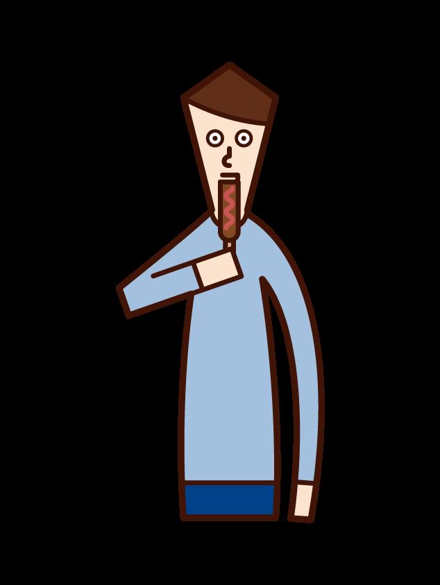 ソーセージを食べる人(男性)のイラスト