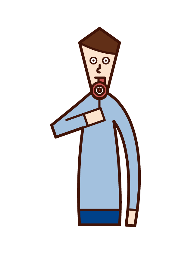 Illustration of a candy lollipop eater (man)