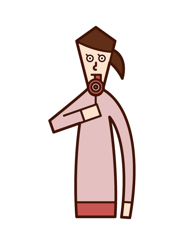 Illustration of a candy lollipop eater (woman)