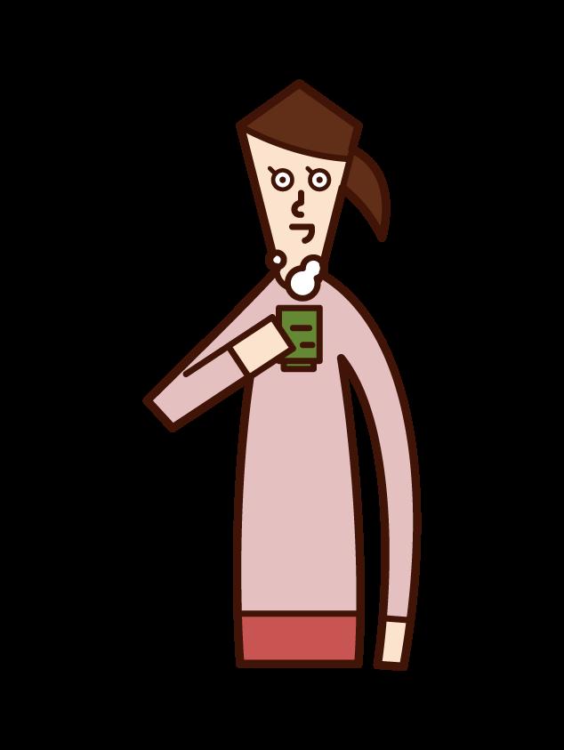 お茶を飲む人(女性)のイラスト