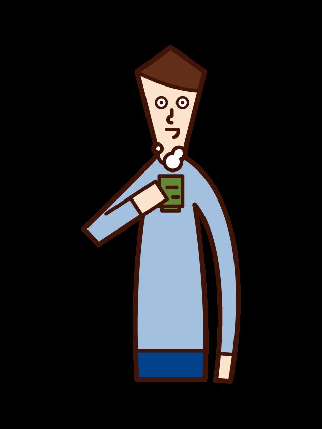 お茶を飲む人(男性)のイラスト