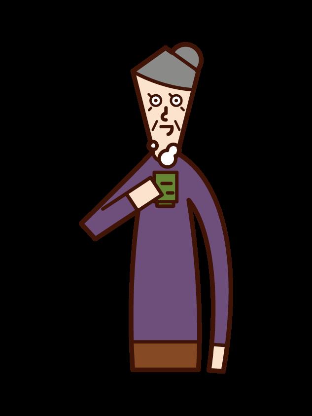 お茶を飲む人(おばあさん)のイラスト