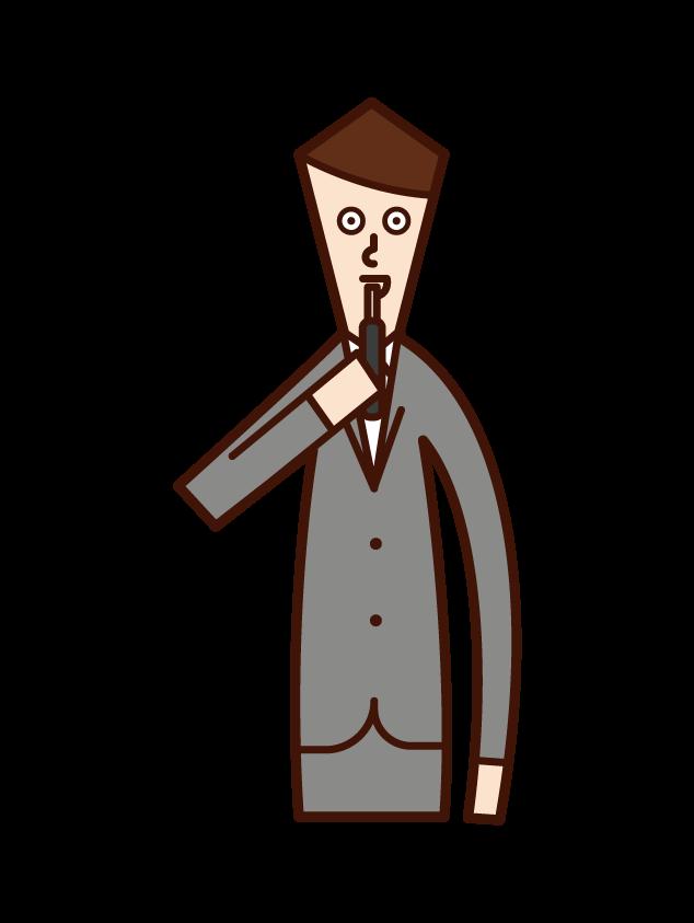 電子タバコを吸う人(男性)のイラスト