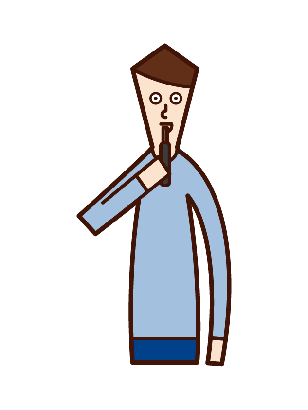 Illustration of a man smoking an e-cigarette