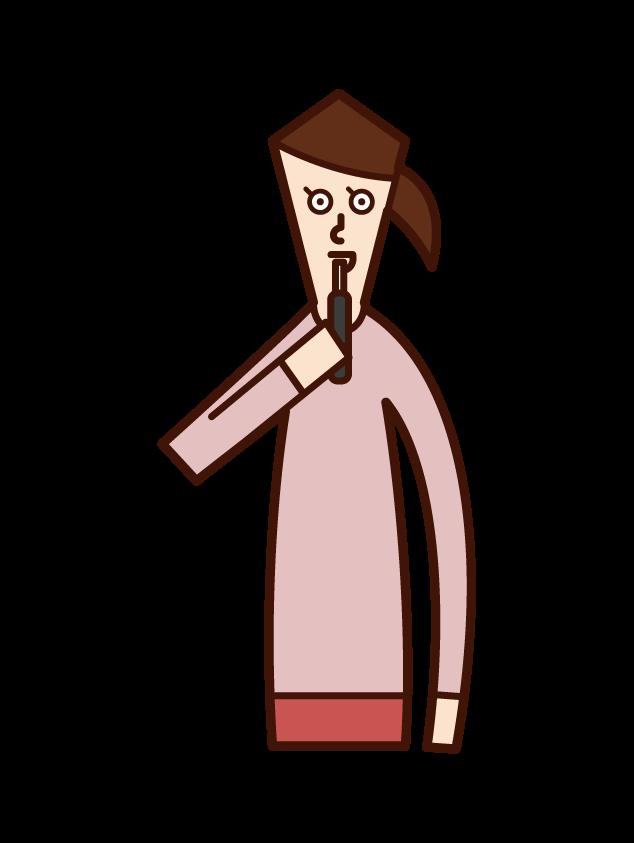 電子タバコを吸う人(女性)のイラスト