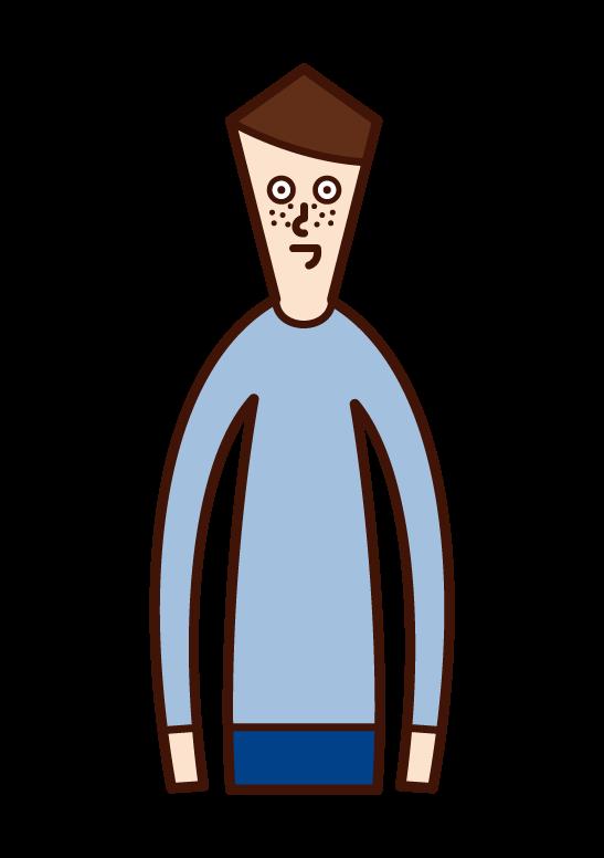 そばかす(男性)のイラスト