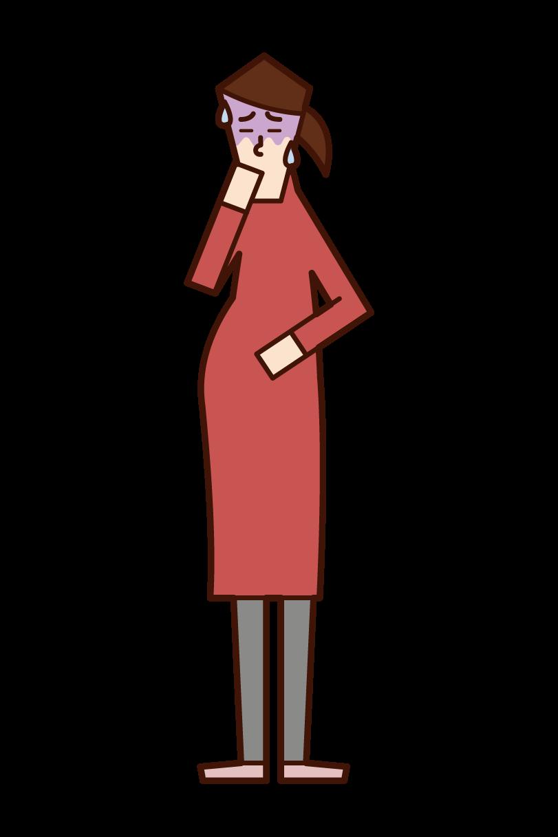 つわり・妊娠悪阻(女性)のイラスト